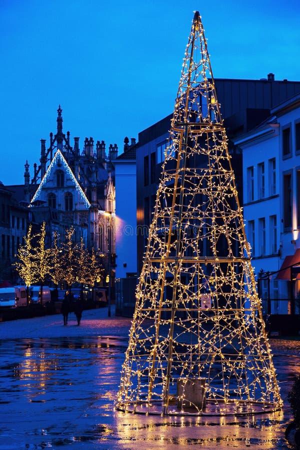 Рождественская елка на Veemarkt в Mechelen стоковые изображения rf