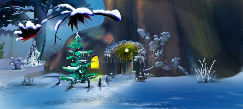 Download Рождественская елка около дома гнома сказки Иллюстрация штока - иллюстрации насчитывающей полость, холм: 81814683