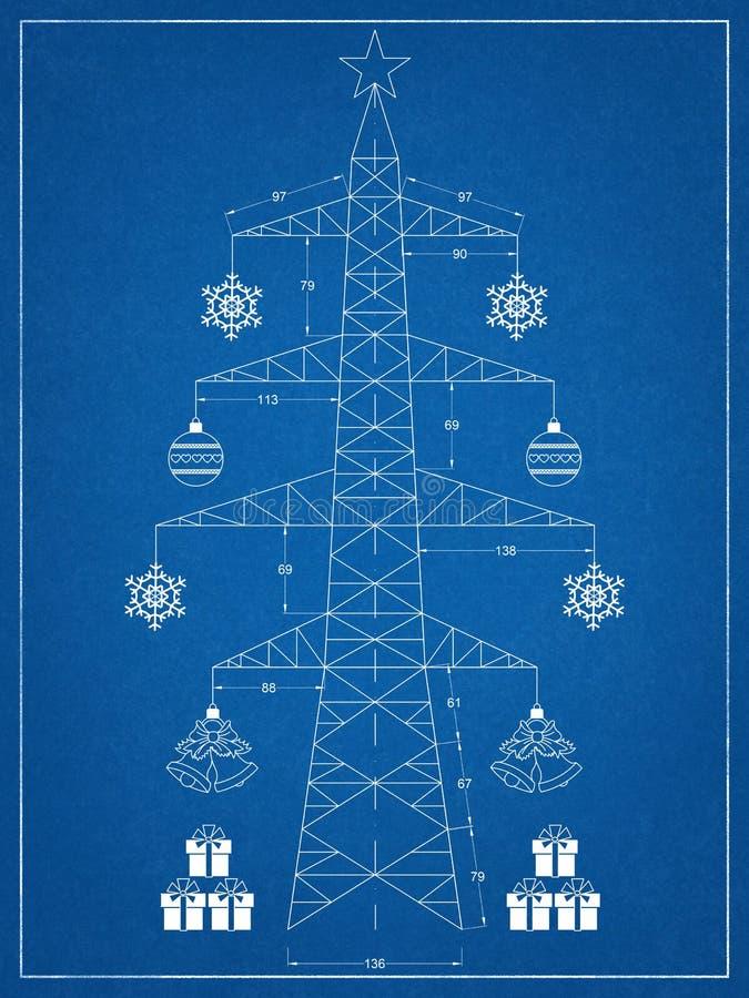 Рождественская елка - светокопия иллюстрация штока