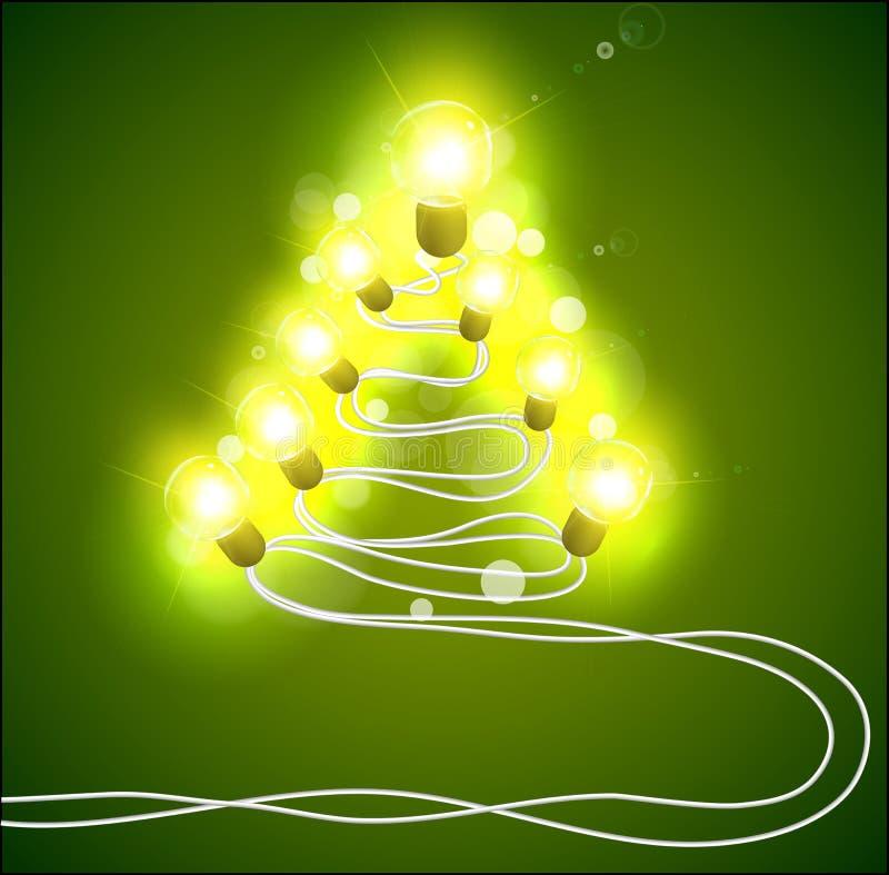 Рождественская елка с гирляндами иллюстрация штока