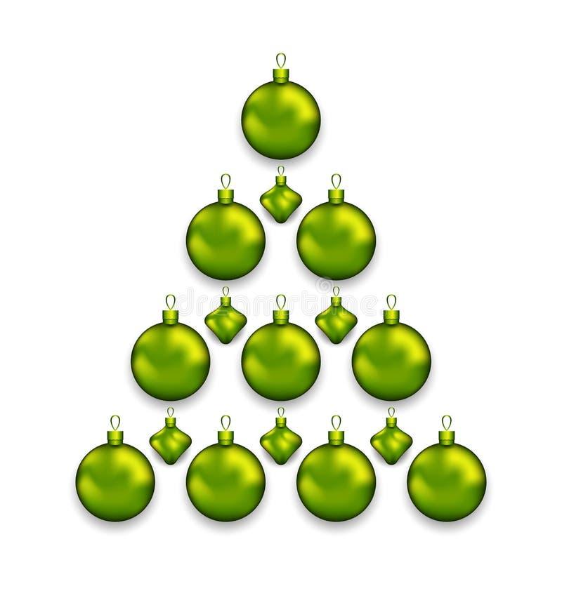 Рождественская елка сделанная стеклянных шариков, изолированный на белой предпосылке бесплатная иллюстрация