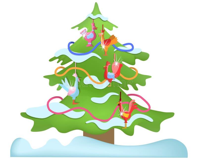 Download Рождественская елка с игрушк-кранами Иллюстрация вектора - иллюстрации насчитывающей украшения, ель: 81801759