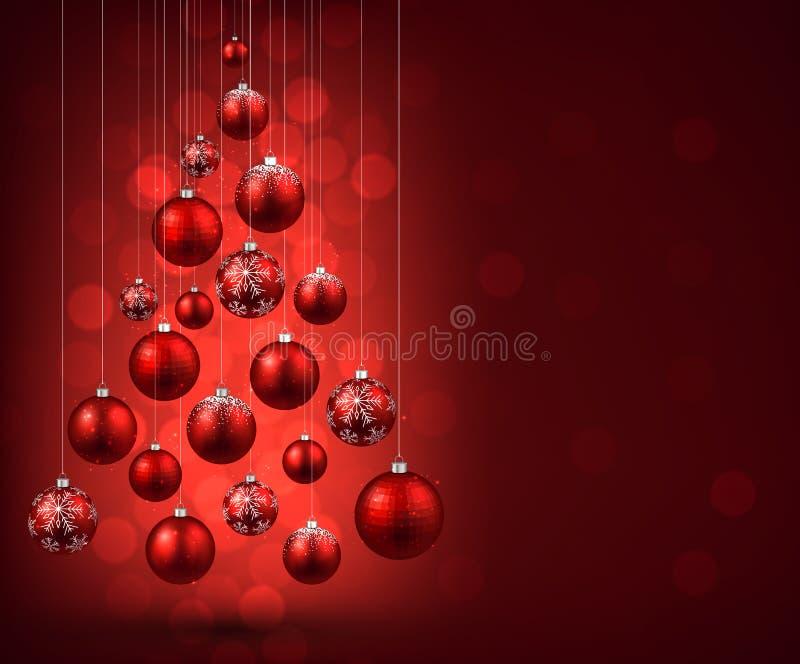 Рождественская елка с красными шариками рождества иллюстрация вектора