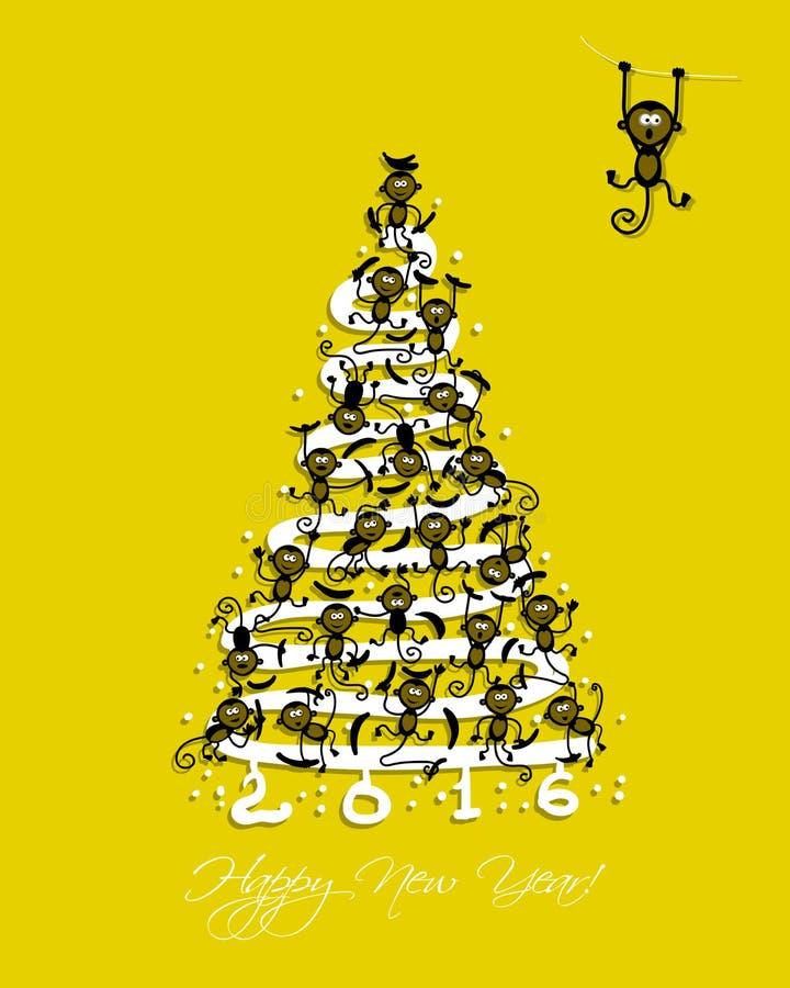 Рождественская елка с смешными обезьянами для вашего дизайна иллюстрация вектора