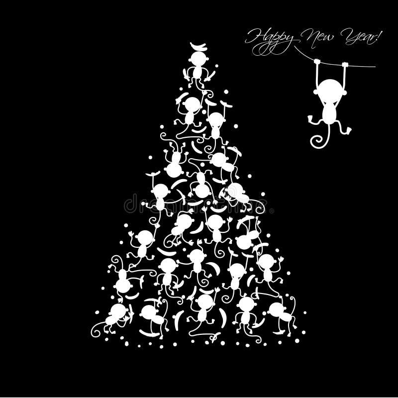 Рождественская елка с смешными обезьянами для вашего дизайна бесплатная иллюстрация