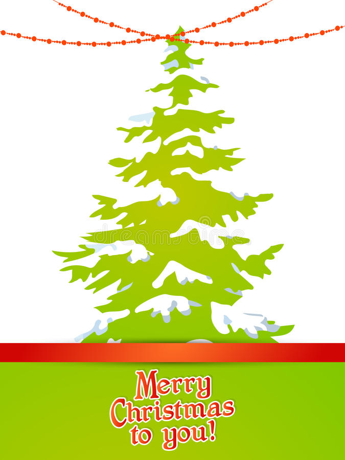 Рождественская елка с снегом и светами стоковая фотография rf
