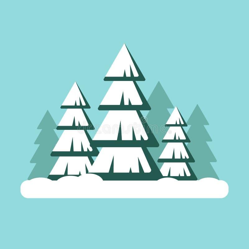Рождественская елка с снежком Ландшафт леса Snowy - иллюстрация вектора Счастливый Новый Год, xmas бесплатная иллюстрация
