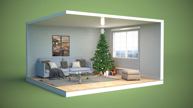 Рождественская елка с украшениями в живущей комнате ...