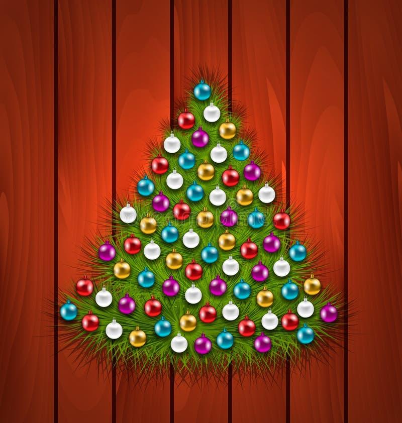 Рождественская елка украсила красочные шарики бесплатная иллюстрация