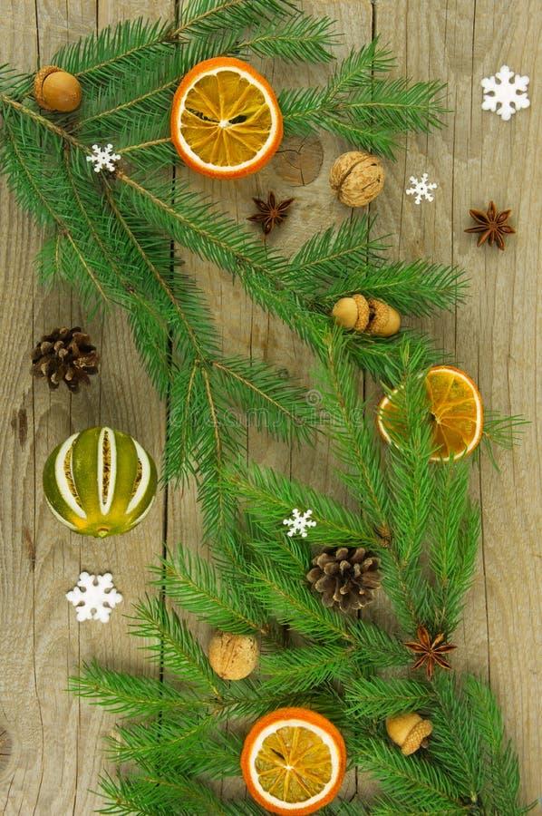 Рождественская елка украшенная с специями, конусами сосны и жолудями стоковые фотографии rf