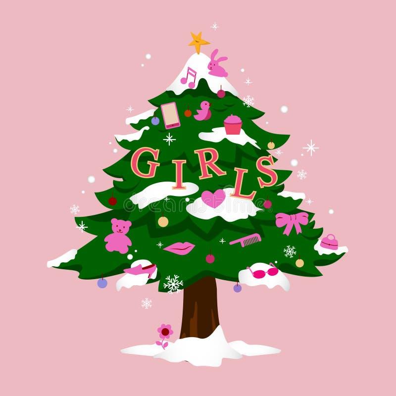 Рождественская елка для девушек стоковое фото rf