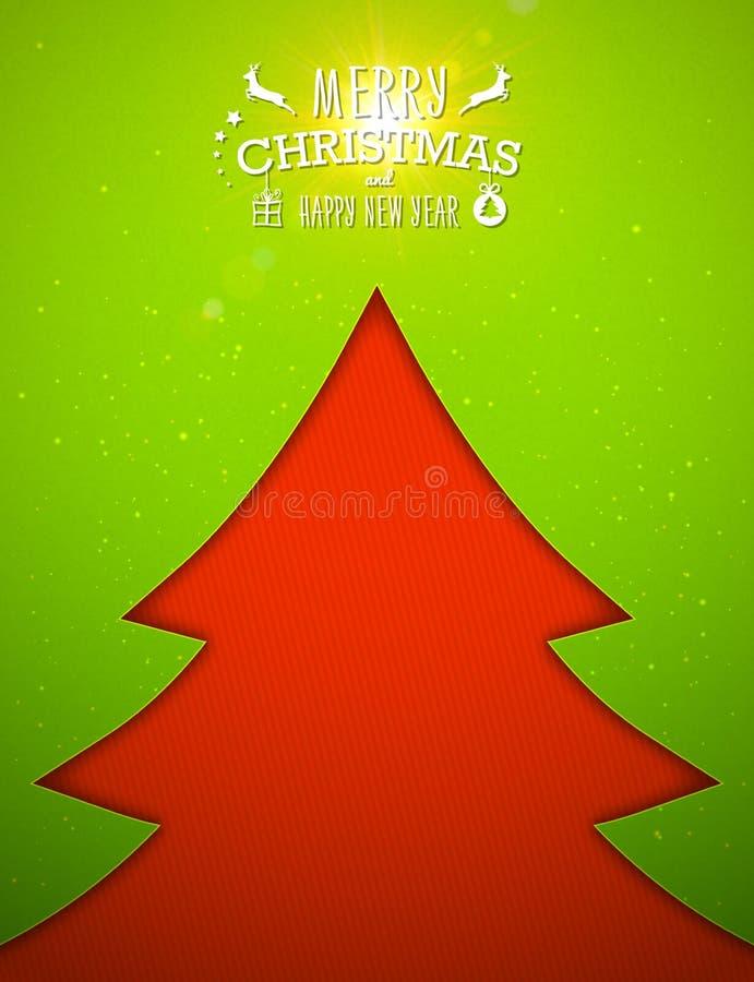Рождественская елка Applique, зеленая предпосылка карточка 2007 приветствуя счастливое Новый Год бесплатная иллюстрация