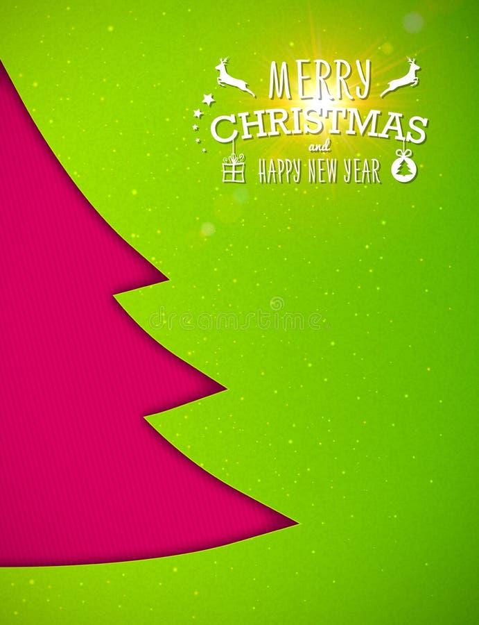 Рождественская елка Applique, зеленая предпосылка карточка 2007 приветствуя счастливое Новый Год иллюстрация штока