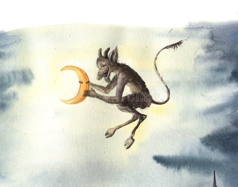 Рождественская открытка акварели русская с дьяволом крадет луну Иллюстрация сказки для дизайна, печати или предпосылки иллюстрация штока