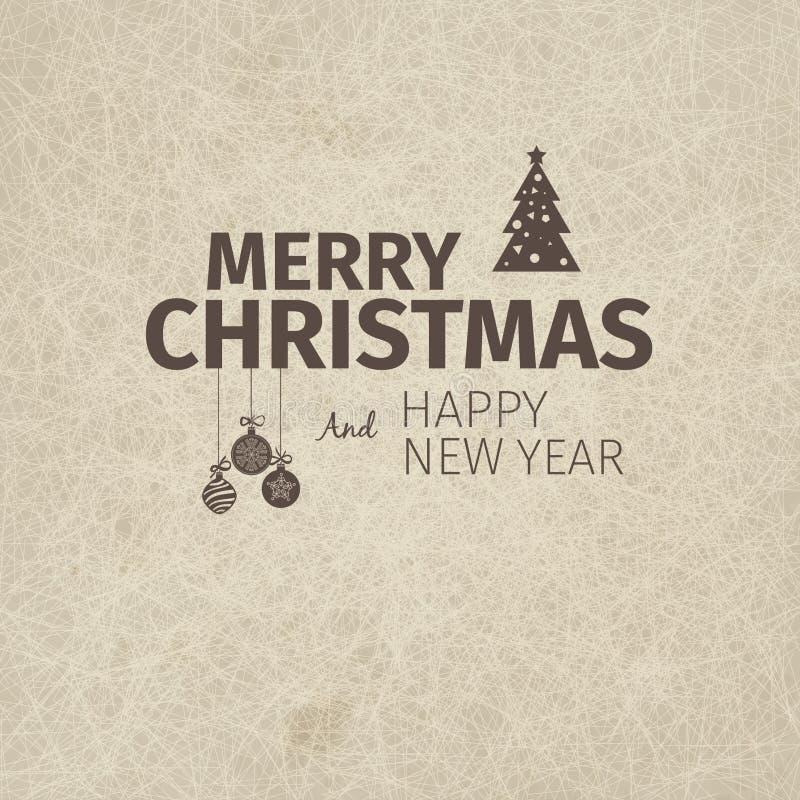 Рождественская открытка и Новый Год винтажного ретро плоского стиля ультрамодная с Рождеством Христовым желают приветствие иллюстрация штока
