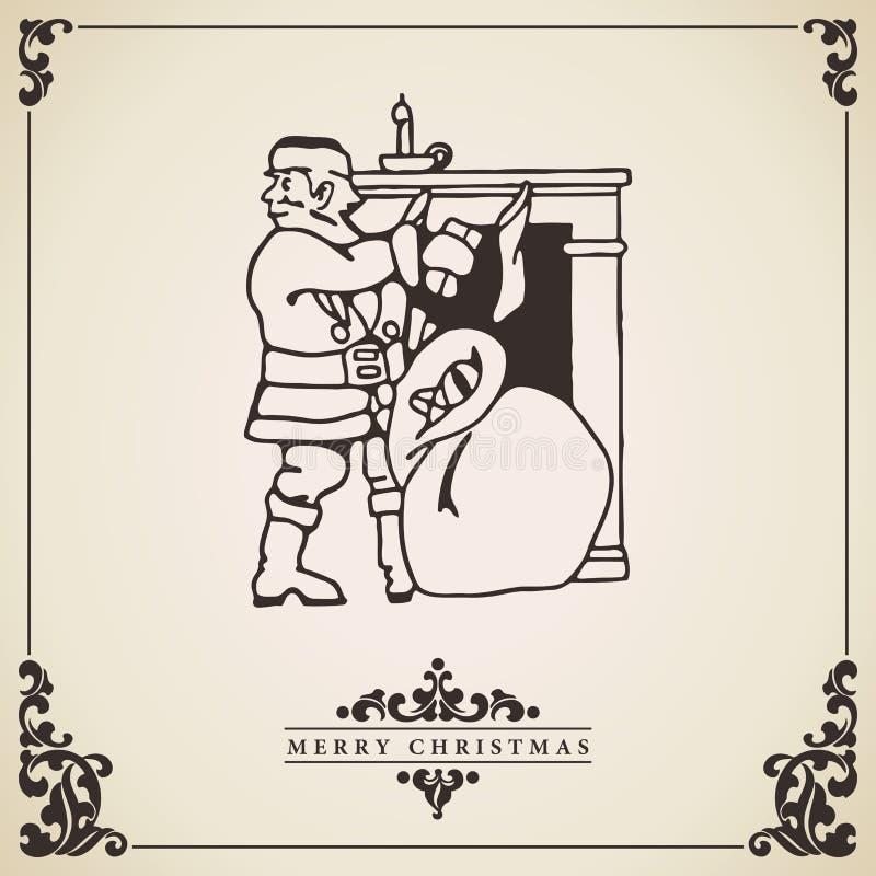 Рождественская открытка Санта Клауса винтажная вектор иллюстрация вектора