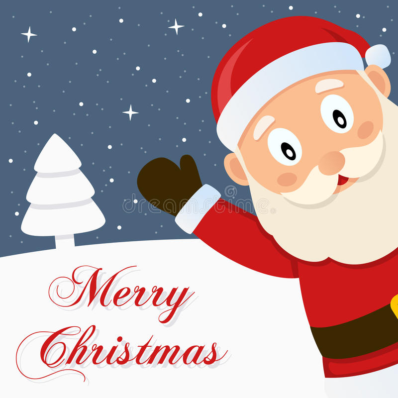 Рождественская открытка Санта Клауса Snowy с Рождеством Христовым бесплатная иллюстрация