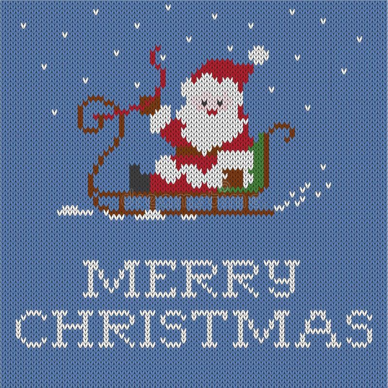 Рождественская открытка, связанная картина, иллюстрация штока