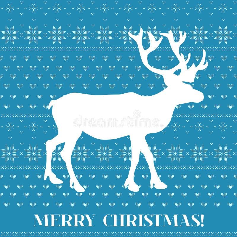 Рождественская открытка - скандинавский стиль Knit иллюстрация штока