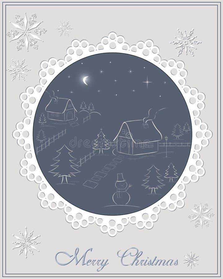 Рождественская открытка - сцена зимы ночи в деревне бесплатная иллюстрация