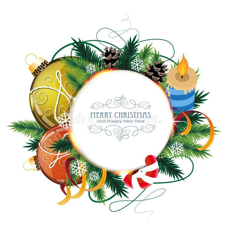 Рождественская открытка с безделушками и свечой иллюстрация штока