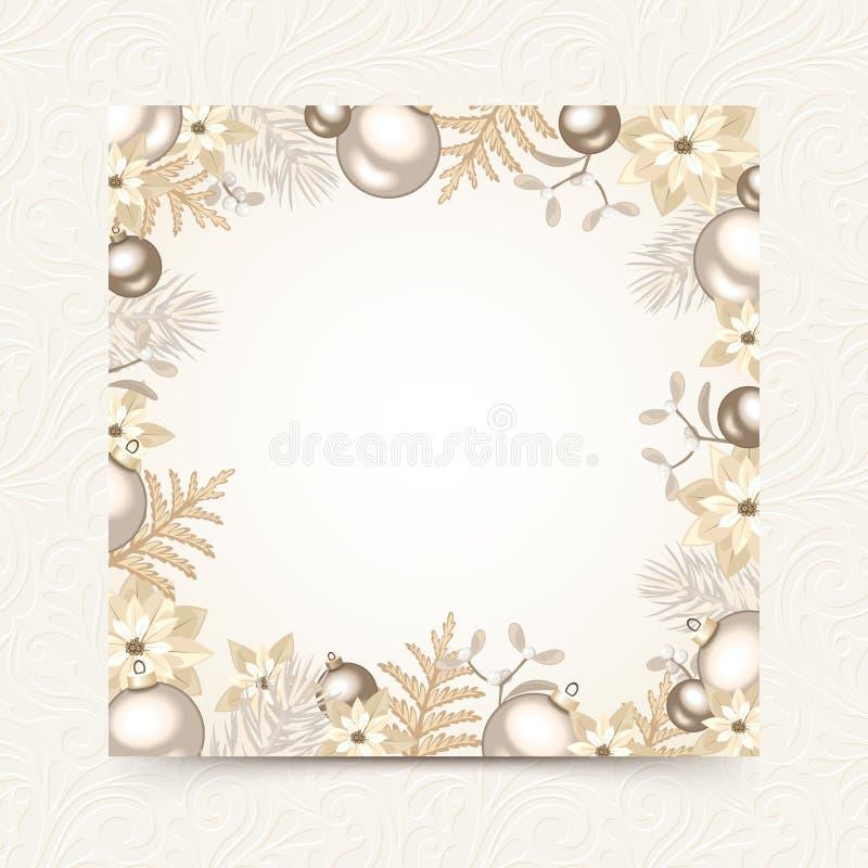 Рождественская открытка с белизной и украшениями серебра Вектор EPS-10 бесплатная иллюстрация
