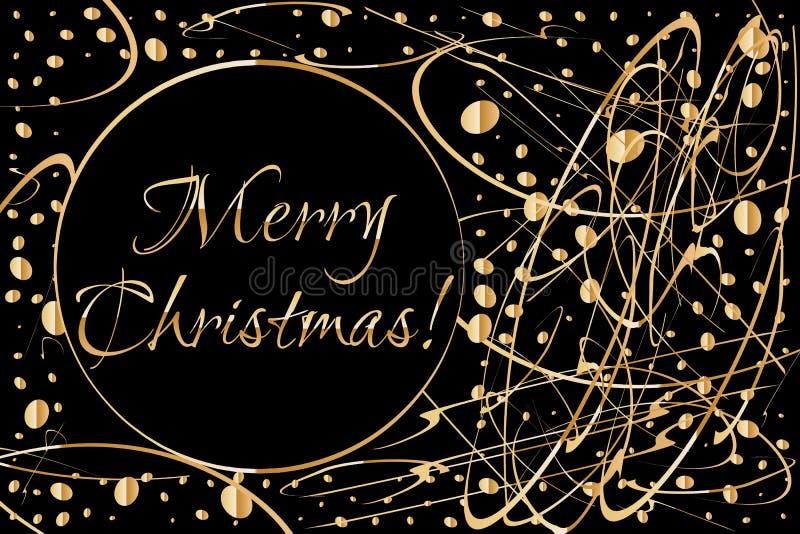 Рождественская открытка с венком от конспекта золота формирует на темном космосе предпосылки и экземпляра для ваших желаний иллюстрация штока