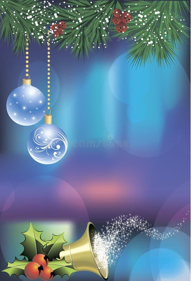 Рождественская открытка с голубыми шариками стоковое фото