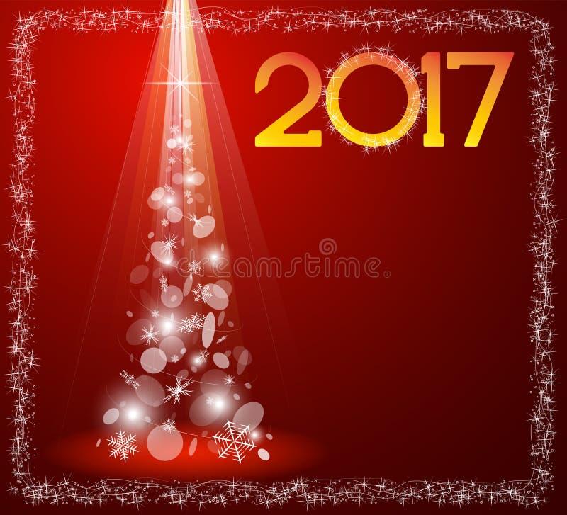 Рождественская открытка с елью в 2017 иллюстрация вектора