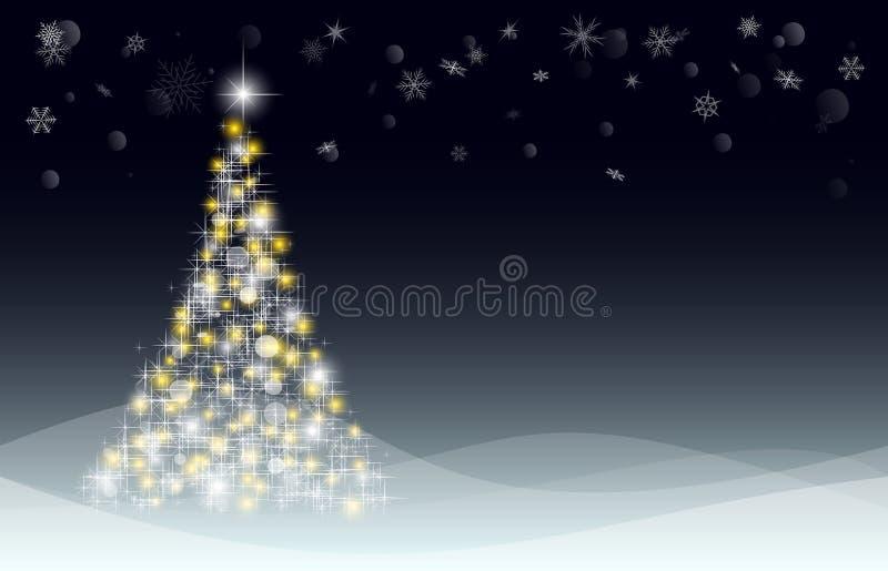 Рождественская открытка с елью и сугробами бесплатная иллюстрация