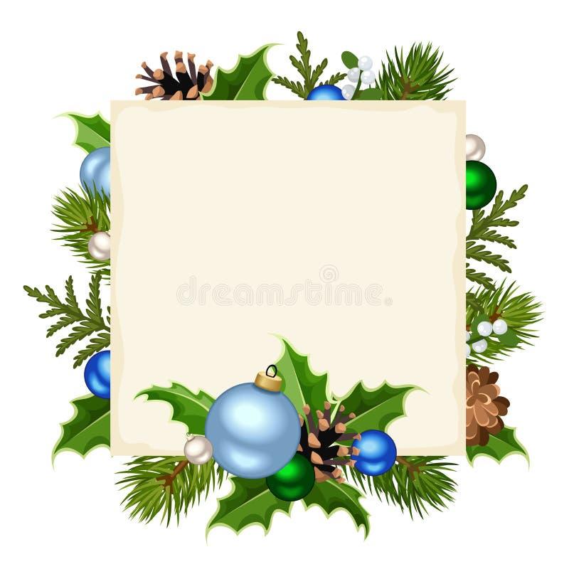 Рождественская открытка с зелеными и голубыми украшениями также вектор иллюстрации притяжки corel иллюстрация вектора