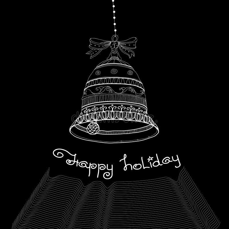 Download Рождественская открытка с колоколами и праздником рукописных слов счастливым Иллюстрация вектора - иллюстрации насчитывающей backhoe, весело: 81803697