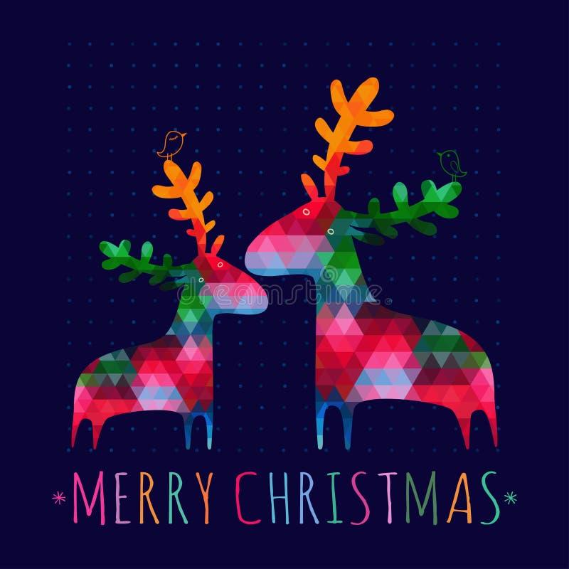 Рождественская открытка с красочными оленями иллюстрация штока