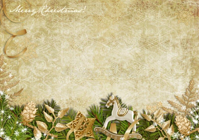 Рождественская открытка с нерукотворной гирляндой на винтажной предпосылке иллюстрация штока