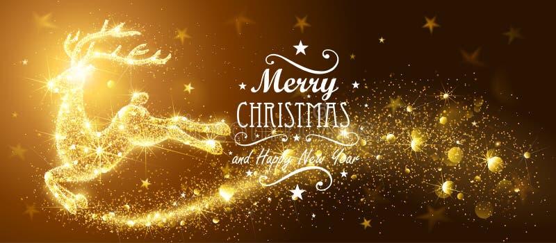 Рождественская открытка с оленями волшебства силуэта иллюстрация вектора
