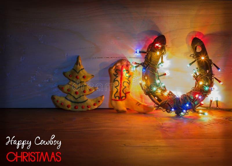 Рождественская открытка с подковой и печеньями на деревянной предпосылке иллюстрация вектора