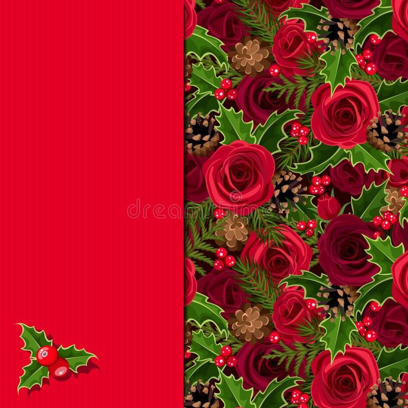 Рождественская открытка с розами и падубом Вектор EPS-10 бесплатная иллюстрация