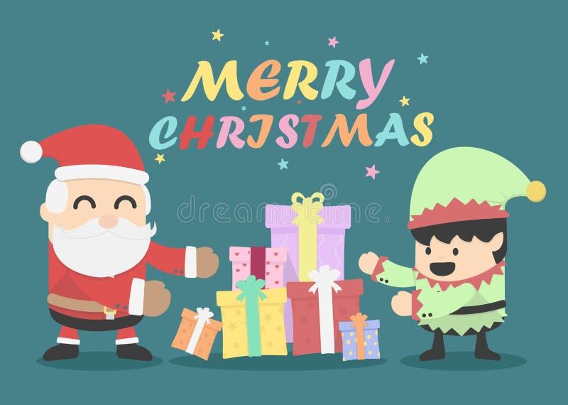 Рождественская открытка с Санта Клаусом и эльфами иллюстрация вектора