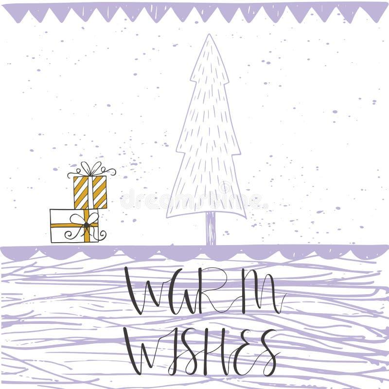 Рождественская открытка с текстом, деревом и настоящими моментами на предпосылке зимы иллюстрация штока