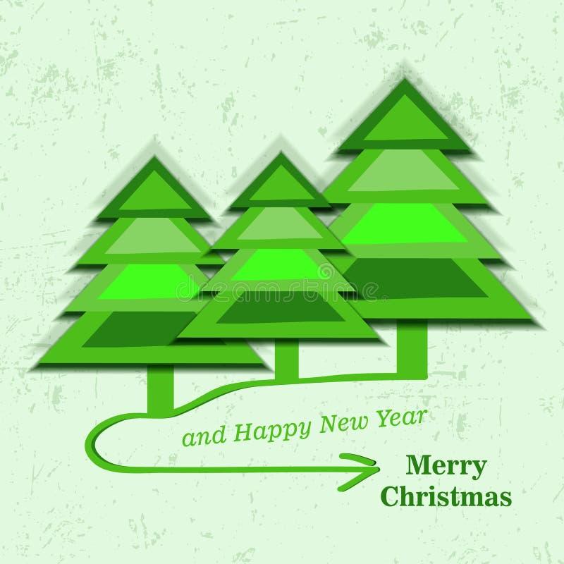 Download Рождественская открытка с Tress рождества Иллюстрация вектора - иллюстрации насчитывающей карточка, элемент: 33737564