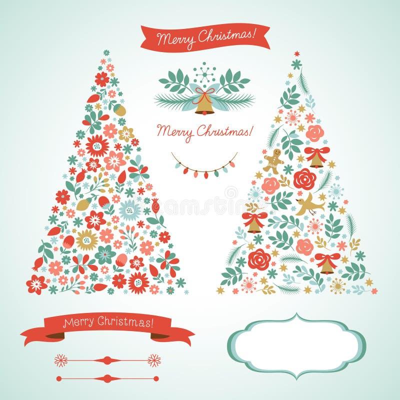 Рождественские елки и элементы графика бесплатная иллюстрация