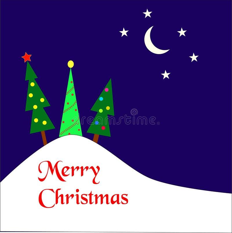 Рождественские елки на холме бесплатная иллюстрация