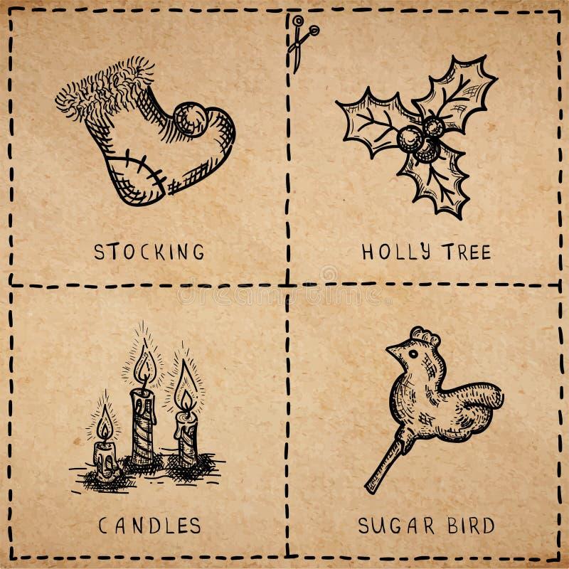 Рождественские открытки сбора винограда иллюстрация вектора