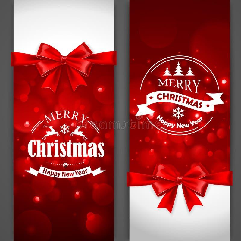 Рождественские открытки с красными смычками иллюстрация штока