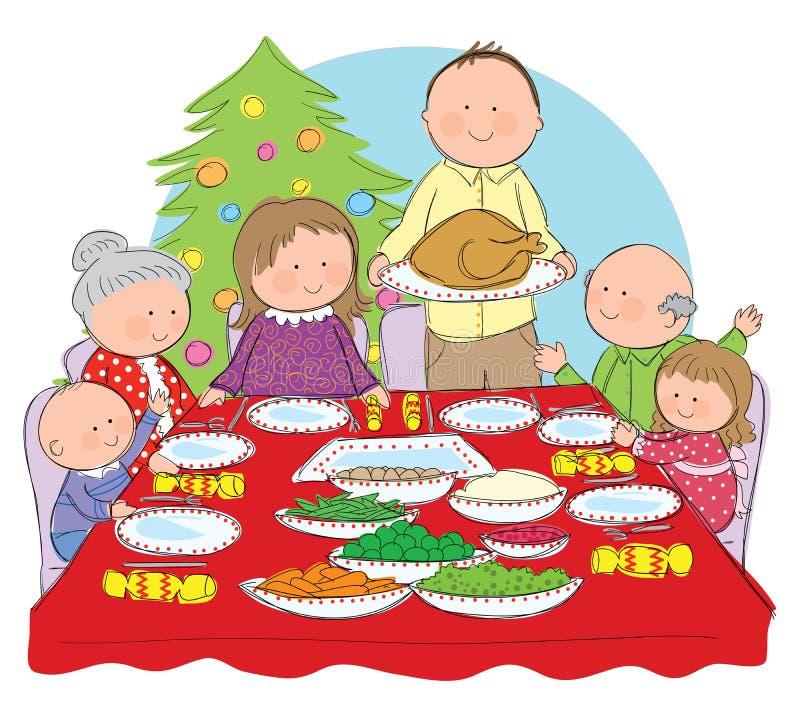 Рождественский ужин бесплатная иллюстрация