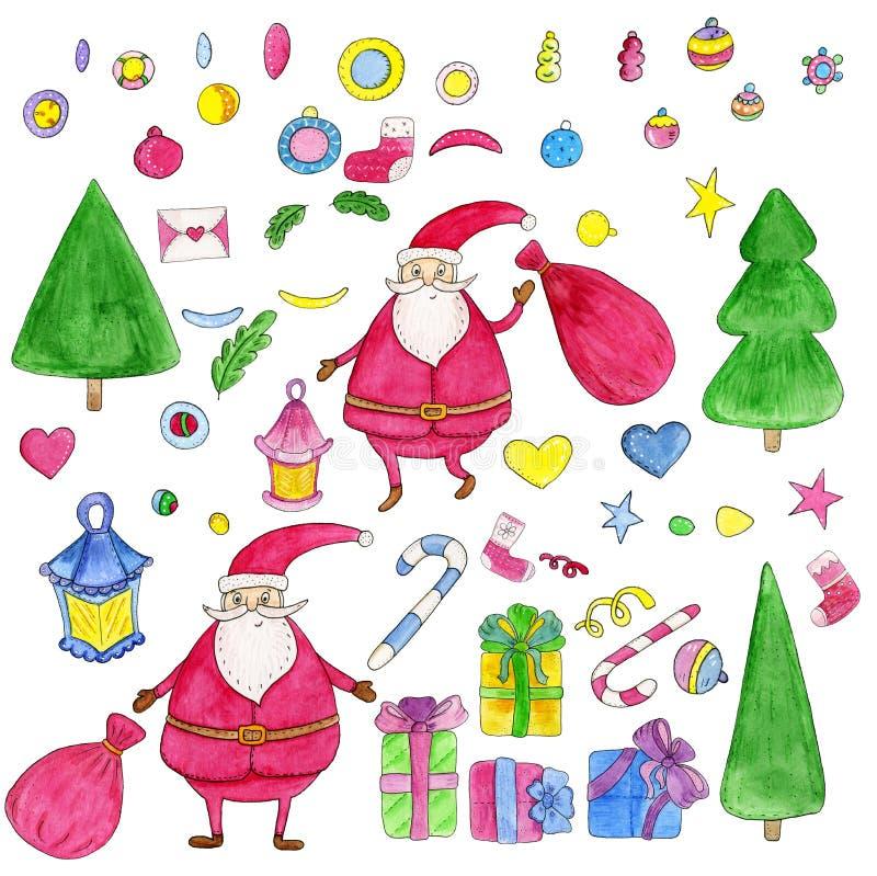Рождество акварели нарисованное рукой установило с Санта Клаусом, frippery, подарками, деревом иллюстрация штока