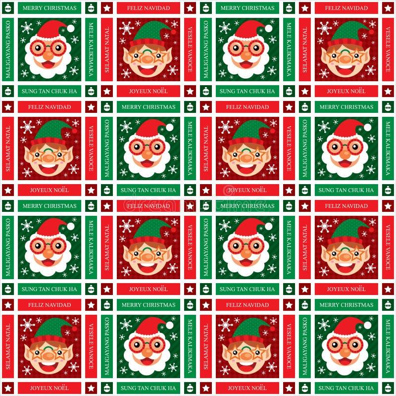 Рождество безшовный Санта Клаус и эльф иллюстрация штока