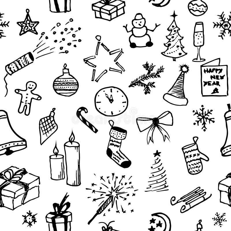 рождество веселое картина безшовная предпосылка красит желтый цвет праздника красный Бесконечная текстура Нарисованная рука Doodl иллюстрация вектора