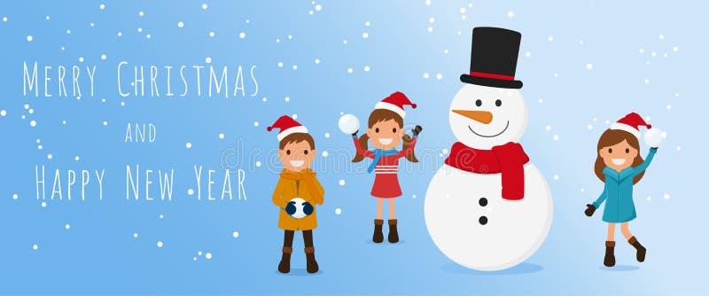 рождество веселое Милые дети и снеговик играя снежный ком в сезоне зимы Рождество и счастливое знамя Нового Года иллюстрация штока