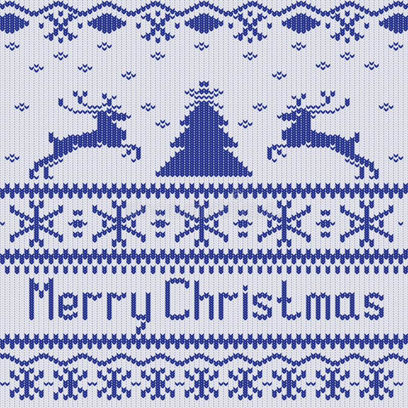 рождество веселое Острословие картины скандинавского стиля безшовное связанное иллюстрация вектора